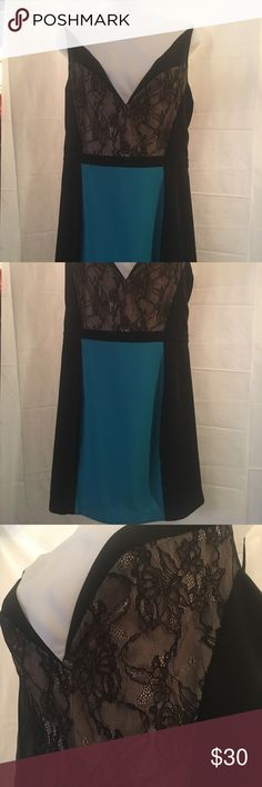 """Gorgeous Bebe black dress size M New w/out tags Bebe black and turquoise dress, size M, new without tags, NEVER WORN!!! Must have addition for a mature and sexy look.  Waist: 14 1/2"""". Arm opening: 8"""". Bottom of dress opening: 18 1/2"""".  Top to bottom: 31"""". bebe Dresses"""