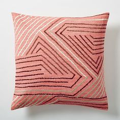 Love the geometric lines & bright pops of color of this embroidered Maze Pillow in Poppy!