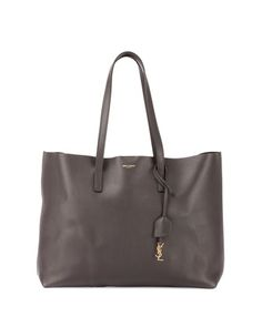 Large+East-West+Leather+Shopper+Bag,+Dark+Gray+by+Saint+Laurent+at+Neiman+Marcus.