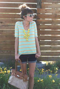 Fun Neon Contrast. J.Crew Drapey Elbow-sleeve tee in stripe, dark denim rolled jean shorts.