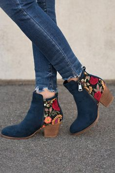 b15cf82e4a97 Atlas Embroidered Suede Booties (Navy). Booties OutfitShoe ...