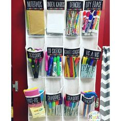 A great idea for organizing classroom supplies!
