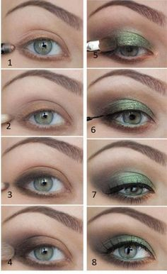 Maquillaje en verde, encuentra más tutoriales de maquillajes aquí...http://www.1001consejos.com/maquillaje-de-ojos-paso-paso/