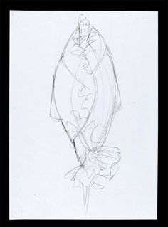 "Sketch by Alexander McQueen, ""Pantheon ad Lucem"" A/W 2004. Pencil on paper, London 2004"