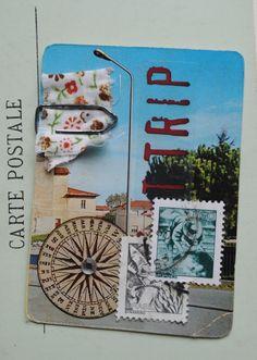 ATC com cartão postal e selos antigos
