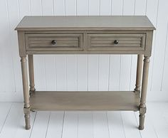 Newport French Grey Hall Table - Console table from The White Cottage Furniture Hall Furniture, Cottage Furniture, White Bedroom Furniture, Living Room Furniture, Country Cottage Interiors, Cottage Style, Small Hall Table, Grey Hall, Gray Console Table