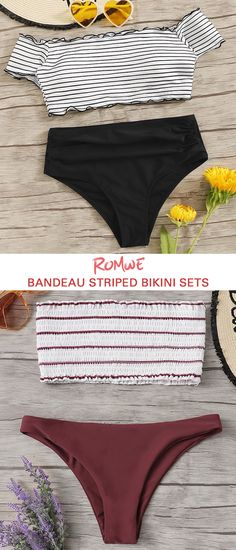 Bandeau Striped Bikini Sets Search - Bandeau Striped Bikini Sets Search Source by Official_Romwe - Trendy Summer Outfits, Cute Teen Outfits, Indie Outfits, Outfits For Teens, New Outfits, Indie Clothes, Colors And Emotions, Designer Cocktail Dress, Wrap Dress Floral