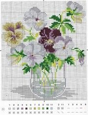 cute little pansies in water vase