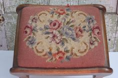 Vintage Needlepoint Floral Footstool by SouthernGilt on Etsy, $90.00
