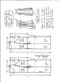 Esquema de modelagem de vestido tubinho cava reta tamanho 42.