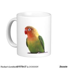 The magnetic cup of Fischer's Lovebird Classic White Coffee Mug
