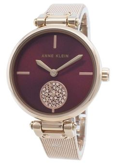 Features:  Rose Gold Tone Stainless Steel Case Rose Gold Tone Stainless Steel Bracelet Quartz Movement Mineral Crystal Burgandy Dial Analog Display Diamond Accents Pull/Push Crown Solid Case Back Jewelry Clasp 30 Water Resistance  Approximate Case Diameter: 34mm Approximate Case Thickness: 9mm Back Jewelry, Jewelry Clasps, Fine Jewelry, Ring For Boyfriend, Anne Klein Watch, Rose Gold Color, Anniversary Rings, Stainless Steel Bracelet, Wedding Ring Bands