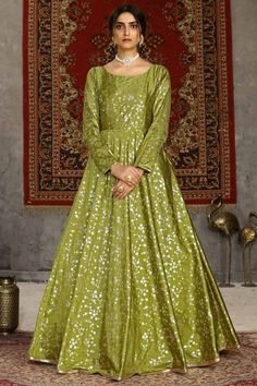 Bright and colourful, this pear green taffeta silk anarkali suit which will give you absolute perfection. This round neck and full sleeve wedding wear suit perfectly formed using foil print work. Set together with santoon/lycra churidar in pear green color with pear green net dupatta. #anarkalisuit #usa #Indianwear #Indiandresses #andaazfashion Party Wear Gowns Online, Party Gowns, Dresses Online, Churidar, Anarkali, Salwar Kameez, Ethnic Gown, Indian Ethnic Wear, Taffeta Dress