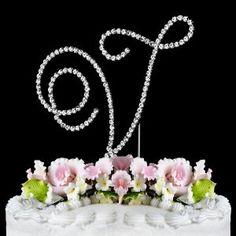 RENAISSANCE MONOGRAM WEDDING CAKE TOPPER LARGE LETTER V