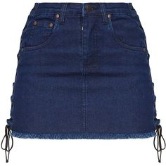 Petite Midwash Lace Up Side Denim Skirt ($30) ❤ liked on Polyvore featuring skirts, blue skirt, lace up denim skirt, denim skirt, petite skirts and lace up skirt