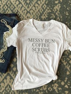 Women's v-neck Messy Bun Coffee Scrubs Shirt
