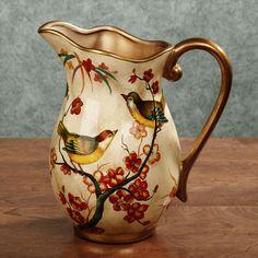 Songbird Handpainted Decorative Ceramic Pitcher: shopping for home stuff Porcelain Jewelry, Ceramic Jewelry, Porcelain Vase, Fine Porcelain, Painted Porcelain, Water Into Wine, Ceramic Pitcher, Ceramic Decor, Ceramic Art