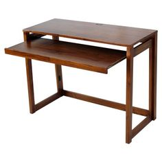 Folding Desk with Pull-Out Tray and USB Port - Warm Brown