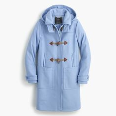 J.Crew Gift Guide: women's toggle coat. Light pastel blue coat