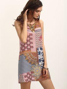 Multicolor Print Sleeveless Tie Back Shift Dress