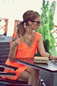 orange dress & statement necklace