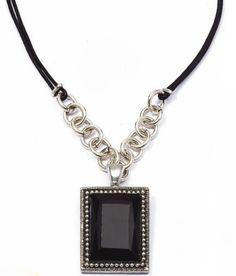 A jet black crystal enhancer is so dramatic! Diy Clothes Accessories, Jewelry Design, Designer Jewellery, Black Crystals, Pendant Necklace, Style Inspiration, Diamond, Chic, Creative Ideas