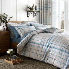 Check Duck Egg Bed Linen Collection | Dunelm