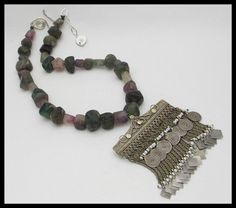 AFGHANI - Very Old Handmade Afghani Amulet - Old Afghani Fluorite Beads - 1 of a Kind Historical Necklace by sandrawebsterjewelry on Etsy