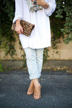 White Off Shoulder dress with jeans via Mae Amor /maeamor/ light colored denim, tan alser cut mules, tassel fringe scarf, Clare V. leopard foldover clutch