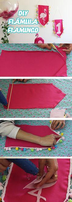 DIY Decoração de festa de aniversário Flamingo, passo a passo Flâmula, balão, pinata de bolo e muito +