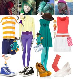 """""""Phineas and Ferb Costume ideas."""" by alltimeinsane-slytherinmybedplzz ❤ liked on Polyvore"""