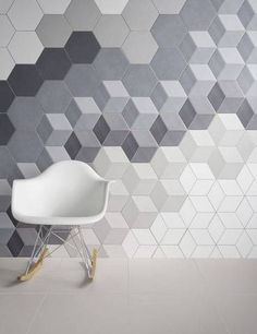 geometric tile ombre gray block tile wall