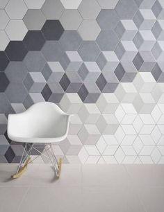 geometric tile ombre gray block tile wall