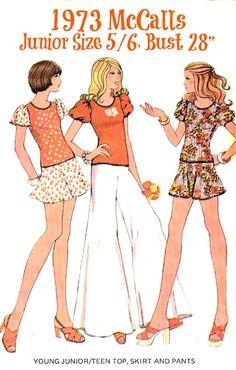 70s Top Mini Skirt Bell-bottomed Pants Sewing by KeepsakesStudio