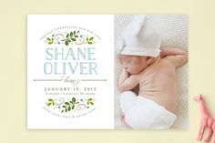 Botanical Crest Birth Announcements by Jessica Williams at minted.com