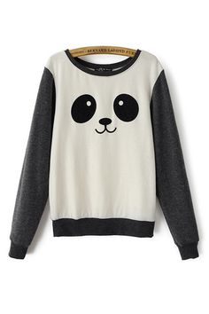 Shop Panda Print Color Block Sweatshirt at ROMWE, discover more fashion styles online. Pullover, Sweater Hoodie, Kawaii Fashion, Cute Fashion, High Fashion, Japanese Fashion, Korean Fashion, Kawaii Clothes, Mode Style