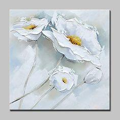 Pintada a mano Naturaleza muerta / Floral/Botánico Pinturas de óleo,Modern Un Panel Lienzos Pintura al óleo pintada a colgar For 2017 - €37.13