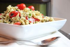 Pesto Orzo with Spinach, Feta and Grape Tomatoes