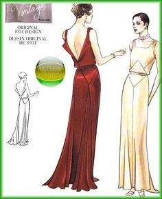 Vogue 2241 Elegant 1931 Vintage Design Gown Patterns