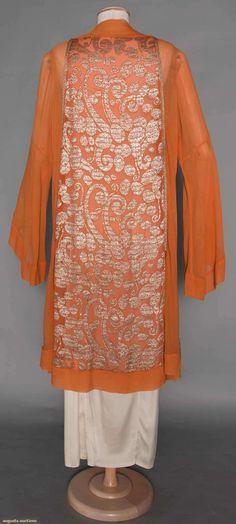 """Jeanne LANVIN Lame Coat, Late 1920s.  Pumpkin orange silk chiffon, silver lame in stylized dot & swirl designs, white on white label """"Jeanne Lanvin Paris Unis France"""". (hva)"""