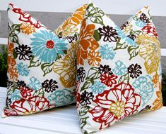 LOVE these pillows. Decorative Throw Pillows Invigorate Accent Pillow Covers 18 x 18 or 20 x 20 Inches Large Scale Floral in Red, Gold, Aqua and More on Ivory