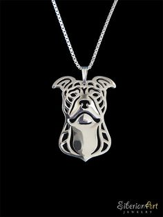 Pit Bull Terrier (natural ears) - sterling silver pendant and necklace