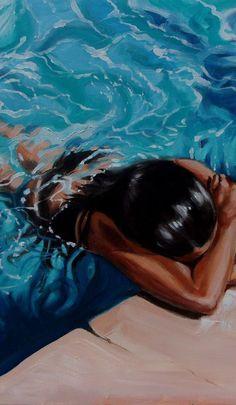 Art by Monika Luniak Art Sketches, Art Drawings, Underwater Painting, Portrait Art, Portrait Paintings, Abstract Portrait, Art Paintings, Water Art, A Level Art