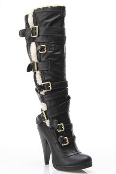 Yoki Jones-H Boot With Fur In Black - Beyond the Rack
