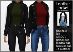 Sims 4 cc: Leather jacket with turtleneck Source by tonirueckert clothes the sims 4 Mods Sims 4, Sims 4 Mods Clothes, Sims 4 Clothing, Maxis, Die Sims 4 Packs, Sims 4 Tattoos, Pelo Sims, Vetements Clothing, Street Style Outfits