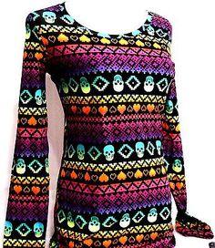 New!!  No Boundaries Rainbow Skull Long Sleeve Ladies Shirt - Size MEDIUM