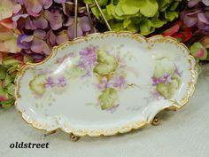 Beautiful Antique Limoges Porcelain Tray ~ Lavender Flowers ~ Embossed ~ Gold #Limoges