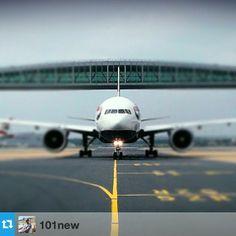 @british_airways passing under the North Terminal #skybridge, courtesy of @101new