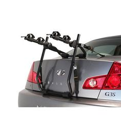 Kayak Storage Pully System Hollywood Express Trunk Mount 2 Bike, Black - Trunk mount rack attachment with aluminum cam-lock buckles Multi-adjust hub system for perfect vehicle fit Rubber bike separator bumpers Holds up to two bikes Best Bike Rack, Car Bike Rack, Car Racks, Bicycle Rack, Cool Bicycles, Cool Bikes, Scooters, Trailer Hitch Bike Rack, Camping