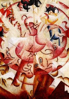 """""""Ballerina a Pigalle"""" (1912; """"Dancer in Pigalle""""), by Gino Severini. Oil on canvas; Futurism."""